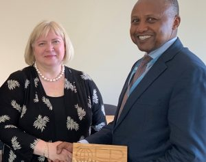 Ms. Mervi Jansson, CEO of OEP and Mr. Evariste Karambizi, Director, Divison for Peace, UNITAR, in Geneva, May 2019.